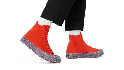 Renew Cotton x Converse Chuck 70 Knit High Bright Poppy On Foot