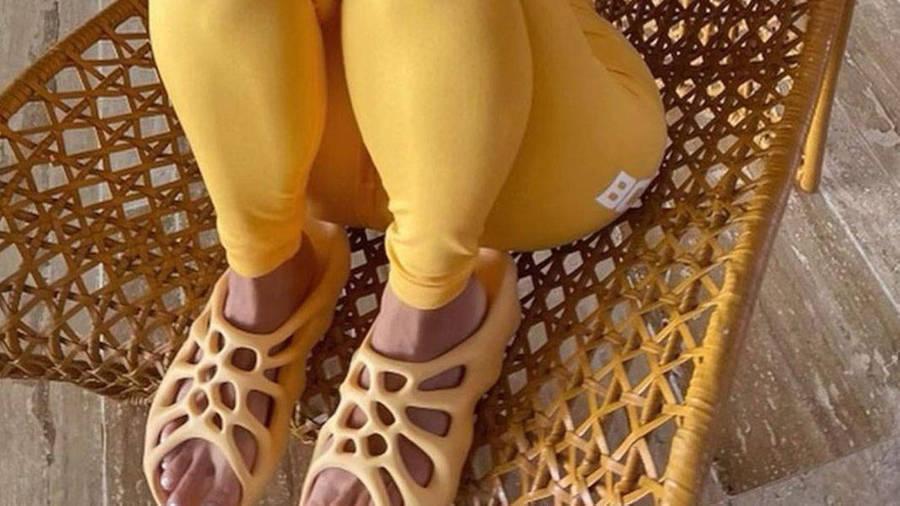 Yeezy 450 Slides Yellow On Foot