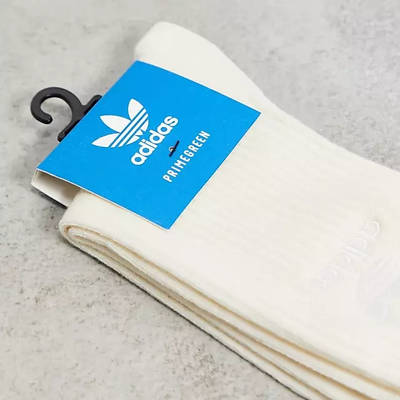 adidas Originals No Dye Ribbed Crew Socks Off White Detail