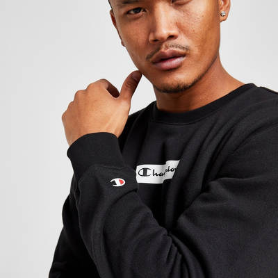 Champion Box Logo Crew Sweatshirt Black Detail 2