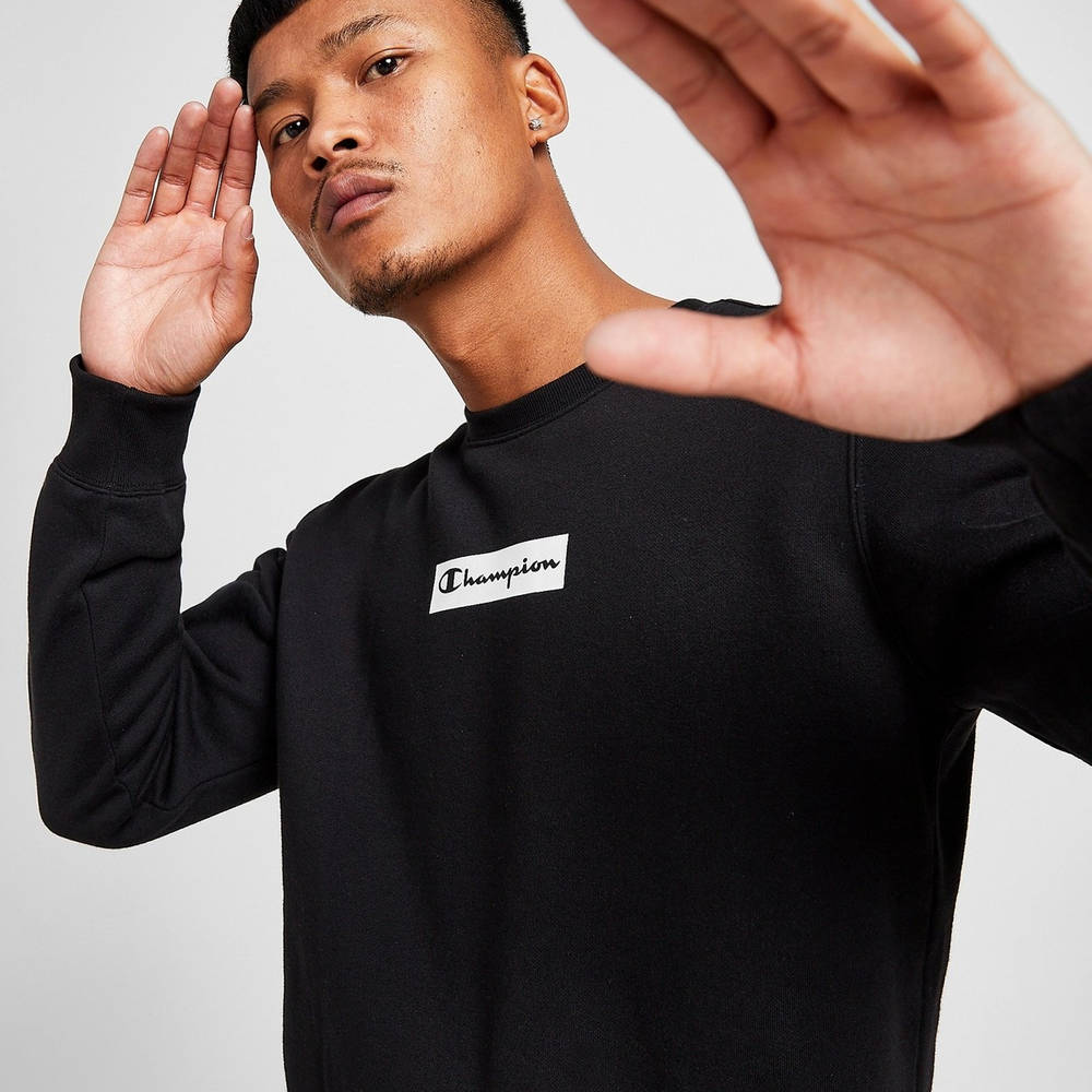 Champion Box Logo Crew Sweatshirt Black Detail