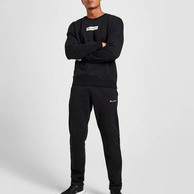 Champion Box Logo Crew Sweatshirt Black Full