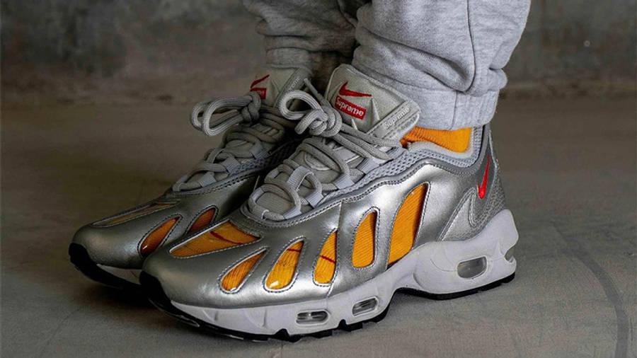 Supreme x Nike Air Max 96 Metallic Silver on Foot