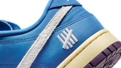 Undefeated x Nike Dunk Low Blue Purple Closeup
