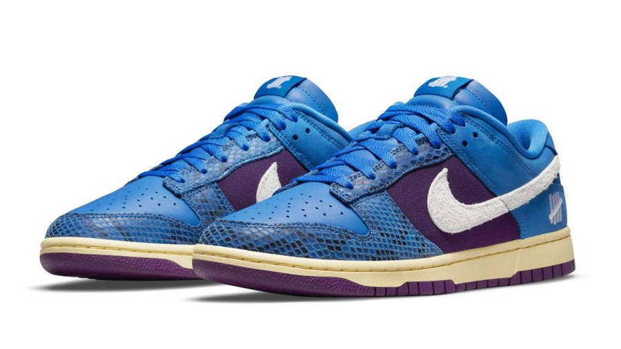 Undefeated x Nike Dunk Low Blue Purple Front