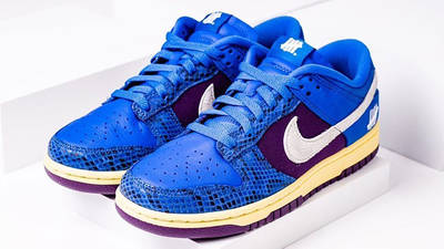UNDEFEATED x Nike Dunk Low Blue Snakeskin Front