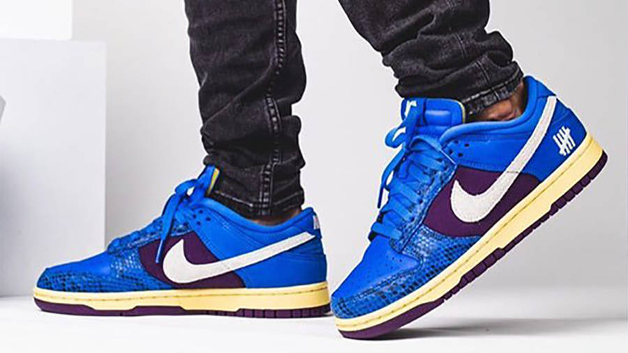UNDEFEATED x Nike Dunk Low Blue Snakeskin on Foot