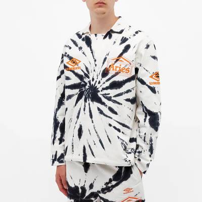 Aries x Umbro Tie Die Pro 64 Pullover Sweatshirt Black Spiral Front