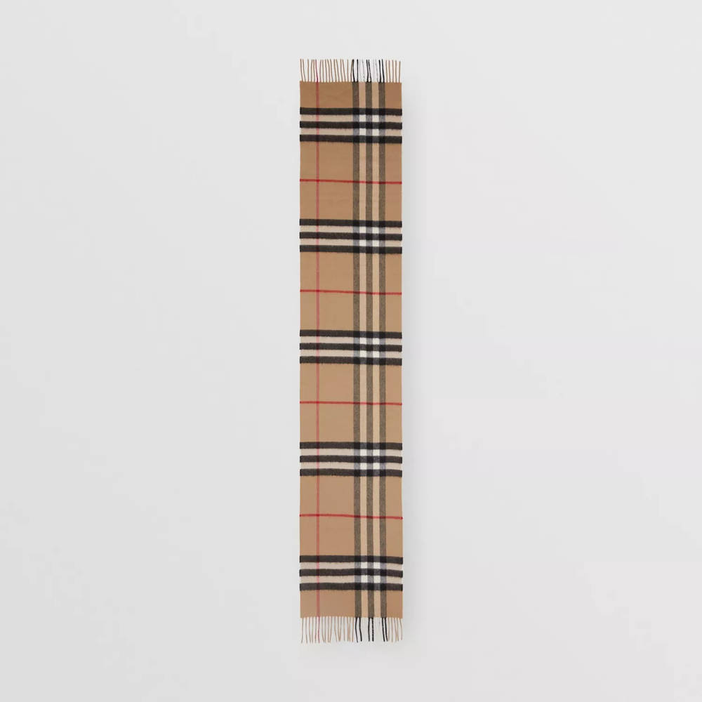 Burberry The Classic Check Cashmere Scarf Archive Beige Full