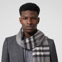 Burberry The Classic Check Cashmere Scarf Grey Front