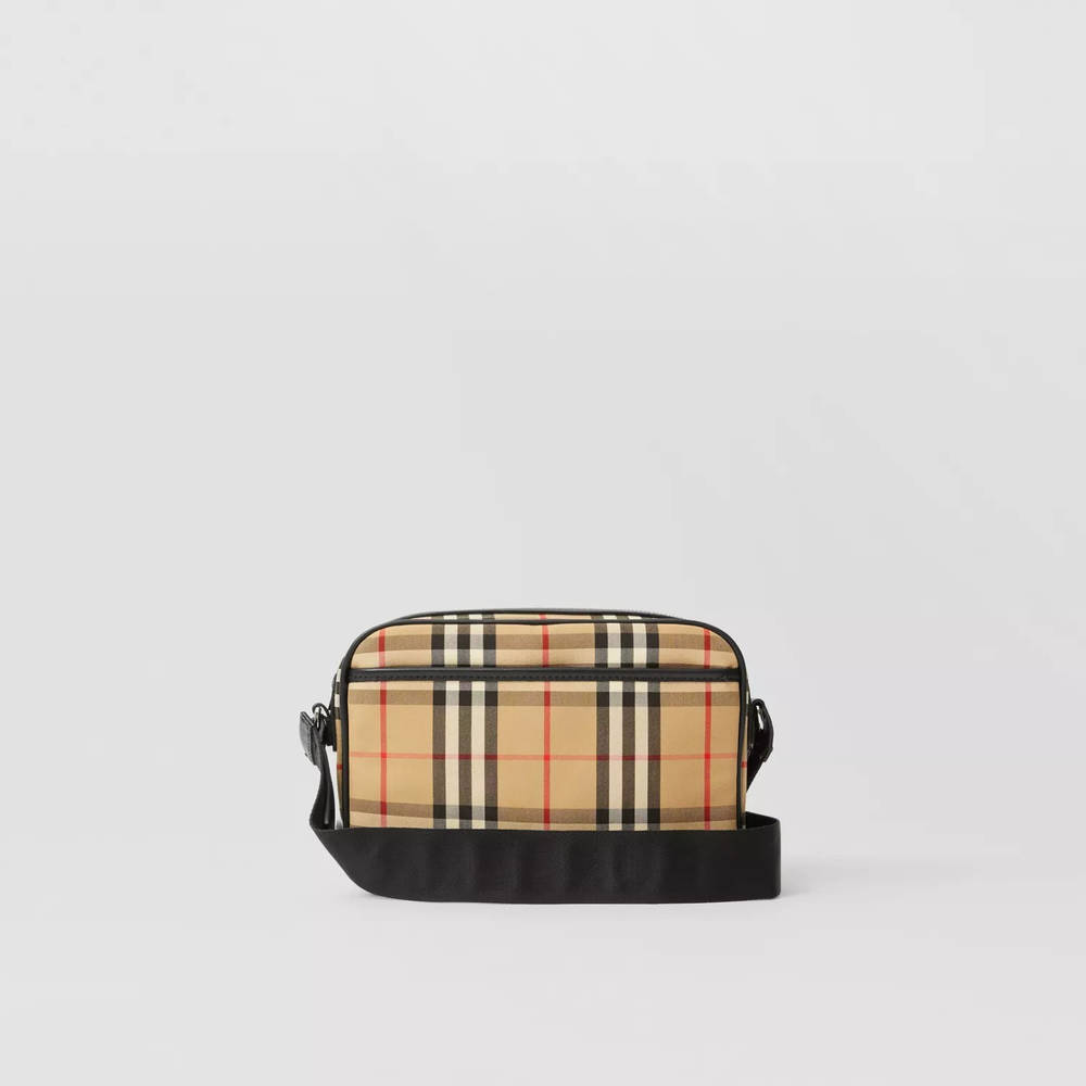 Burberry Vintage Check and Leather Crossbody Bag Beige Back