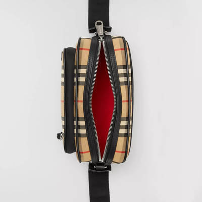 Burberry Vintage Check and Leather Crossbody Bag Beige Detail 2