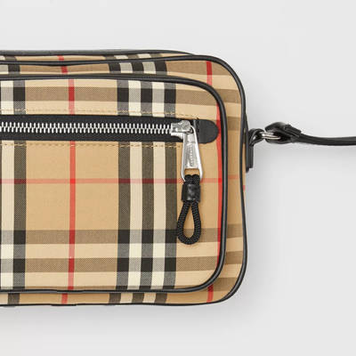 Burberry Vintage Check and Leather Crossbody Bag Beige Detail