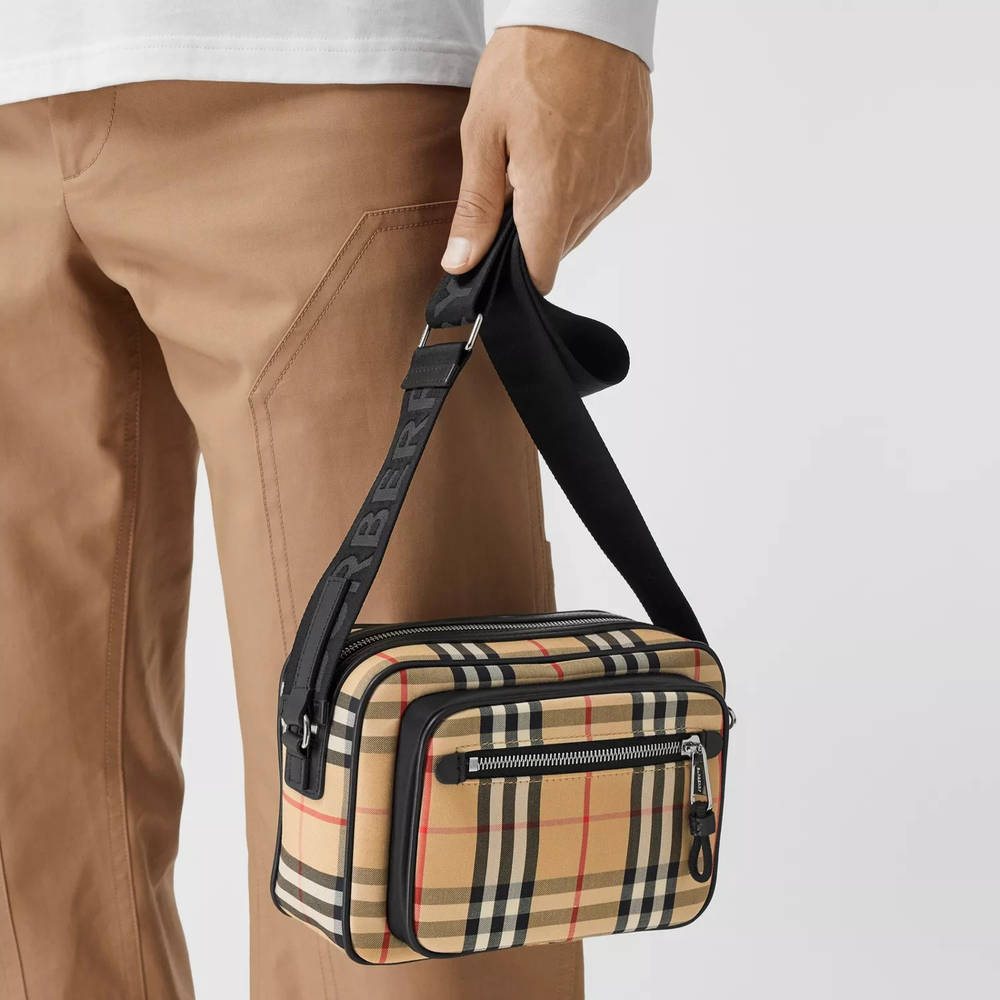 Burberry Vintage Check and Leather Crossbody Bag Beige Side 2