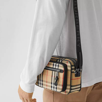Burberry Vintage Check and Leather Crossbody Bag Beige Side