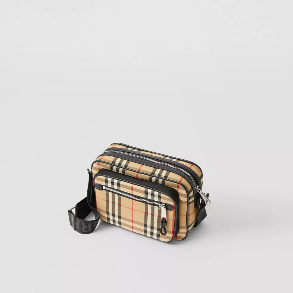 Burberry Vintage Check and Leather Crossbody Bag Beige Top