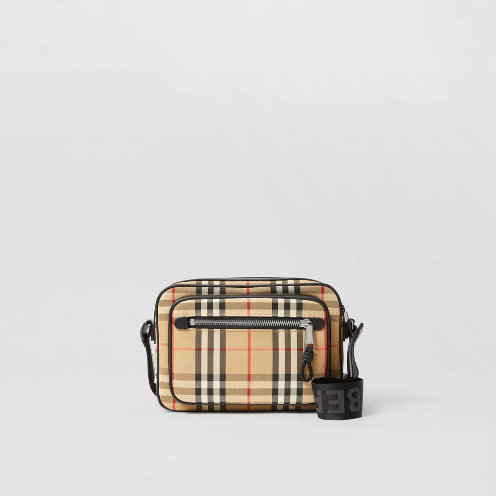 Burberry Vintage Check and Leather Crossbody Bag Beige