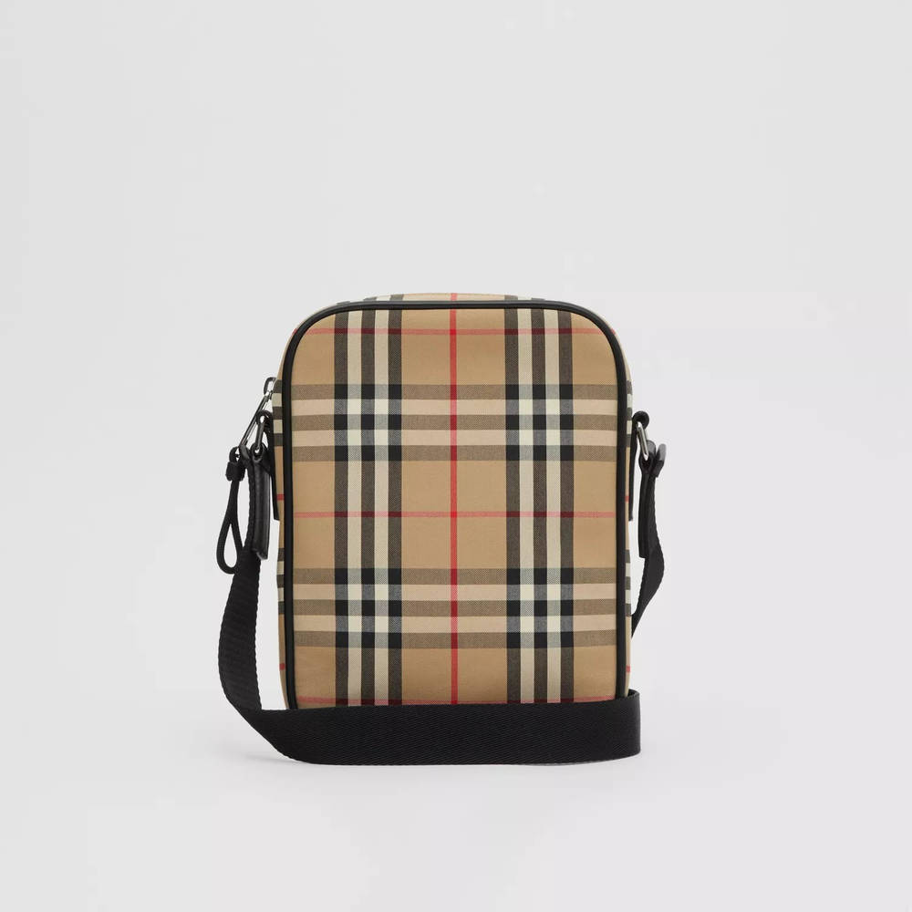 Burberry Vintage Check Cotton and Leather Crossbody Bag Archive Beige Back