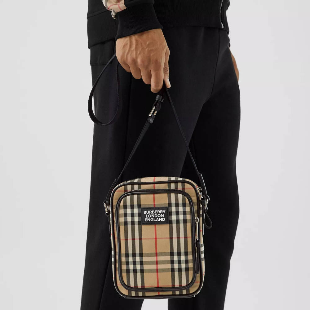 Burberry Vintage Check Cotton and Leather Crossbody Bag Archive Beige Detail 3