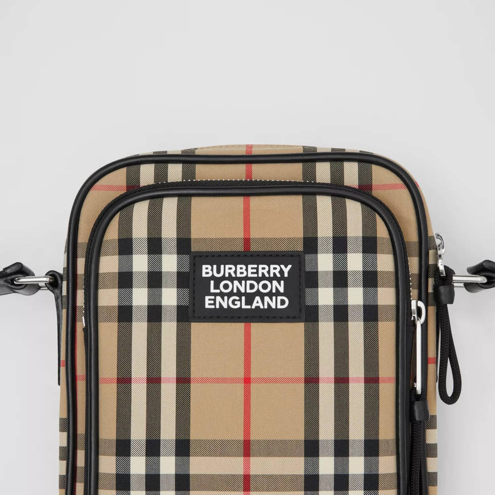 Burberry Vintage Check Cotton and Leather Crossbody Bag Archive Beige Detail