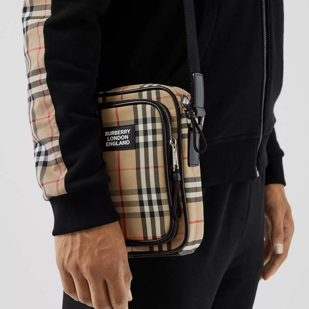 Burberry Vintage Check Cotton and Leather Crossbody Bag Archive Beige Side