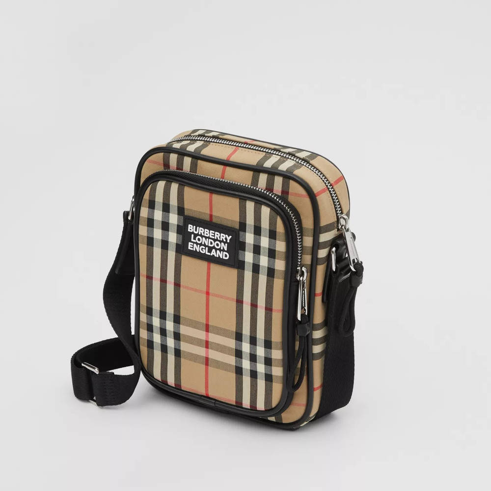 Burberry Vintage Check Cotton and Leather Crossbody Bag Archive Beige Top
