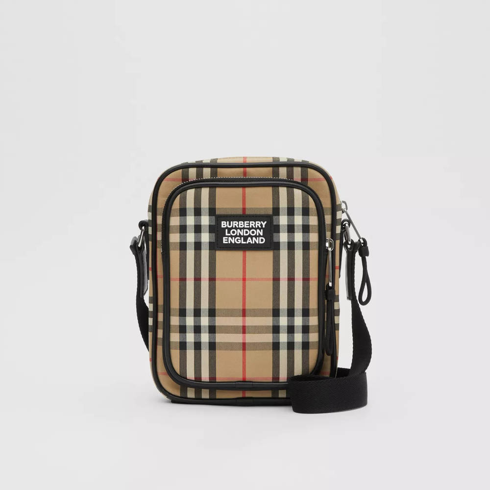 Burberry Vintage Check Cotton and Leather Crossbody Bag Archive Beige