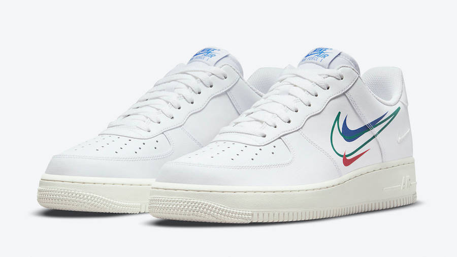 Nike Air Force 1 Low Multi Swoosh White Blue Front