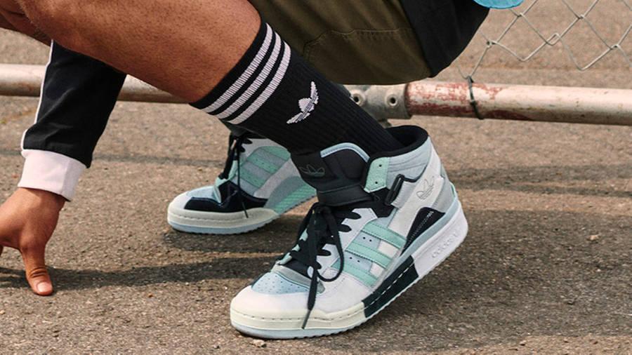 adidas Forum Exhibit Mid White Black Halo Mint On Foot