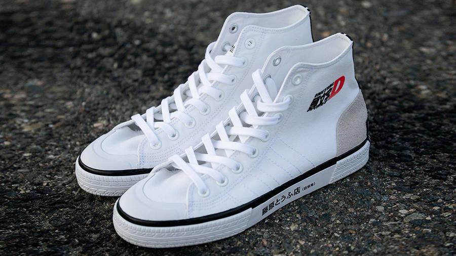 Initial D x BAIT x adidas Nizza Hi White Front