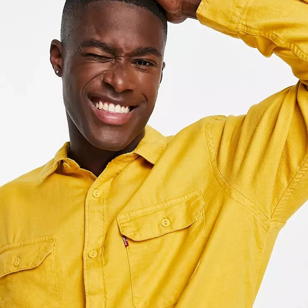 Levi's Jackson Cotton Hemp Worker Overshirt Yellow Detail