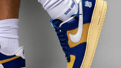 UNDEFEATED x Nike Air Force 1 Low Blue Croc DM8462-400 on foot closeup