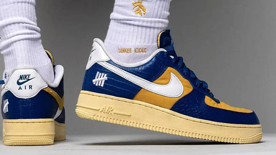 UNDEFEATED x Nike Air Force 1 Low Blue Croc DM8462-400 on foot heel