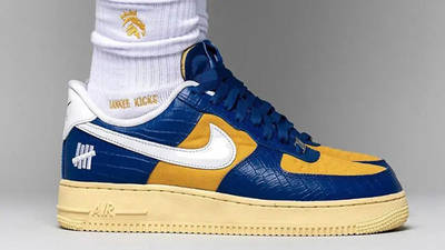 UNDEFEATED x Nike Air Force 1 Low Blue Croc DM8462-400 on foot main