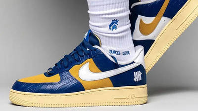 UNDEFEATED x Nike Air Force 1 Low Blue Croc DM8462-400 on foot side