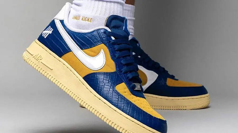 UNDEFEATED x Nike Air Force 1 Low Blue Croc DM8462-400 on foot