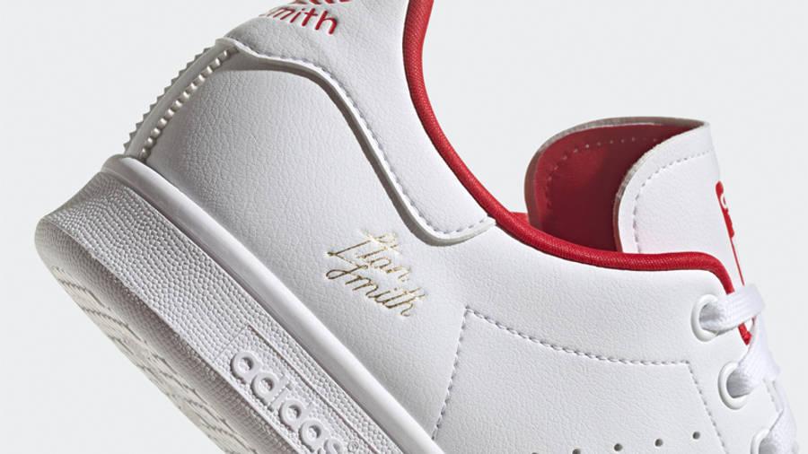 adidas Stan Smith Cloud White Scarlet Closeup