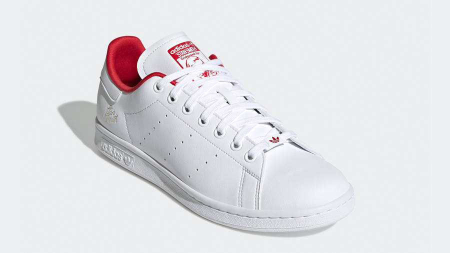 adidas Stan Smith Cloud White Scarlet Front