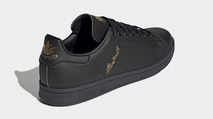 adidas Stan Smith Core Black Gold Metallic Back