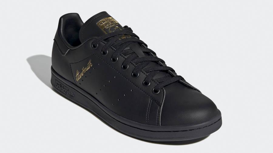 adidas Stan Smith Core Black Gold Metallic Front