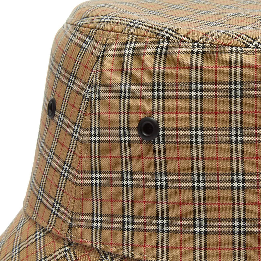 Burberry Micro Check Bucket Hat Archive Beige Detail
