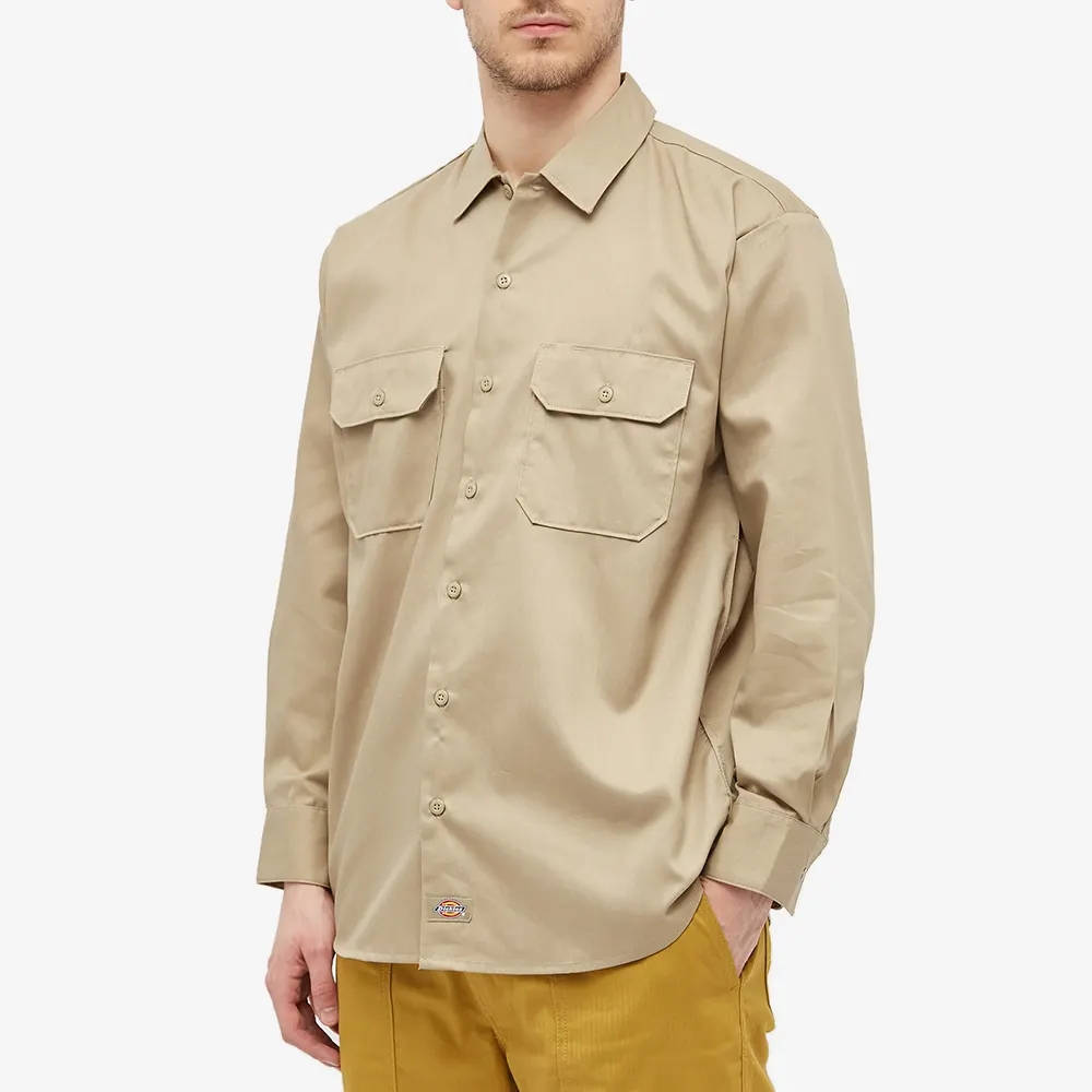 Dickies Work Shirt Khaki Front