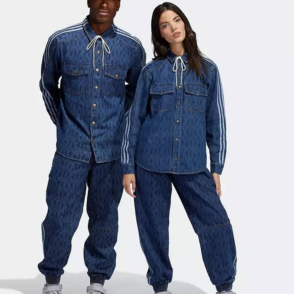 IVY PARK x adidas Tonal Monogram Denim Jeans Dark Navy Front