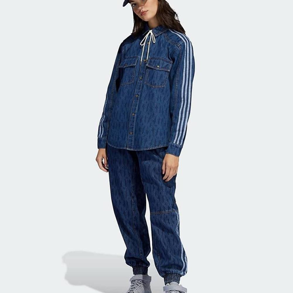 IVY PARK x adidas Tonal Monogram Denim Jeans Dark Navy Full