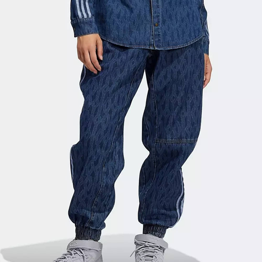 IVY PARK x adidas Tonal Monogram Denim Jeans Dark Navy