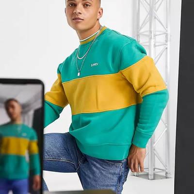 Levi's Logo Colour Block Stripe Sweatshirt Green Front