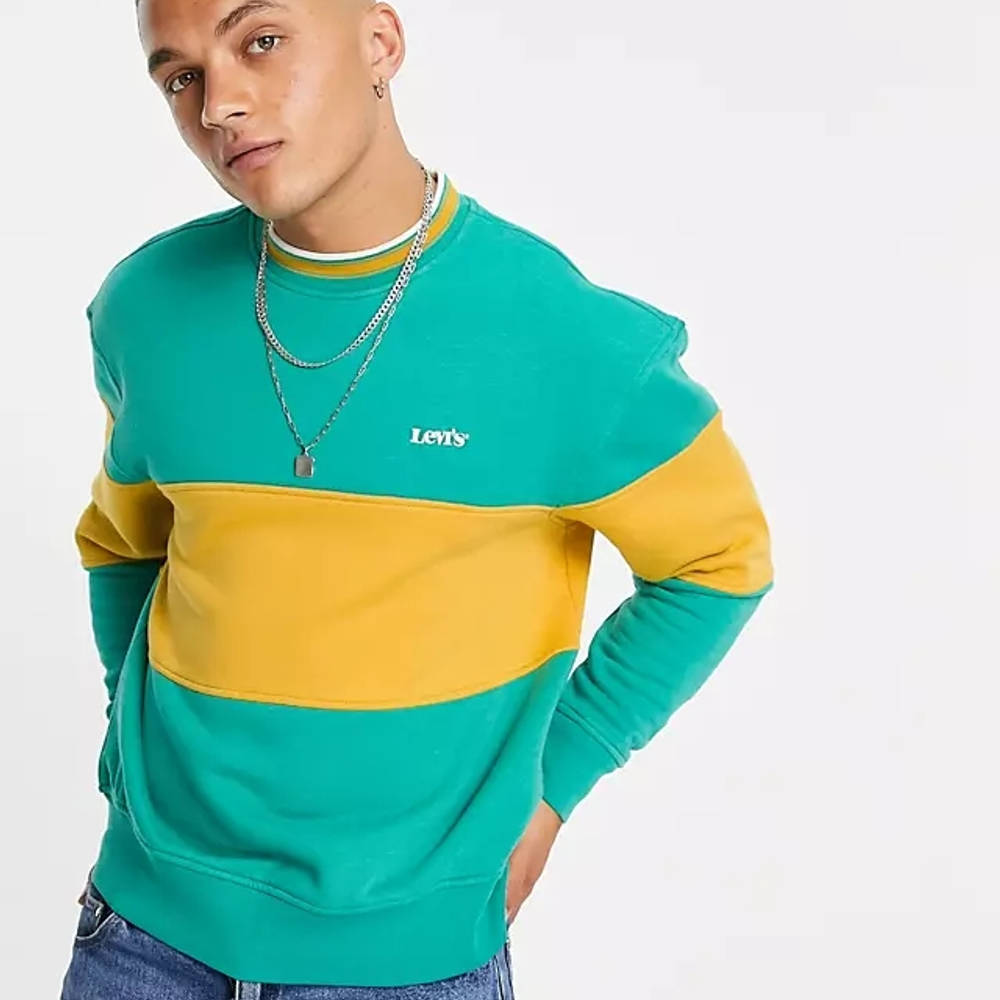 Levi's Logo Colour Block Stripe Sweatshirt Green