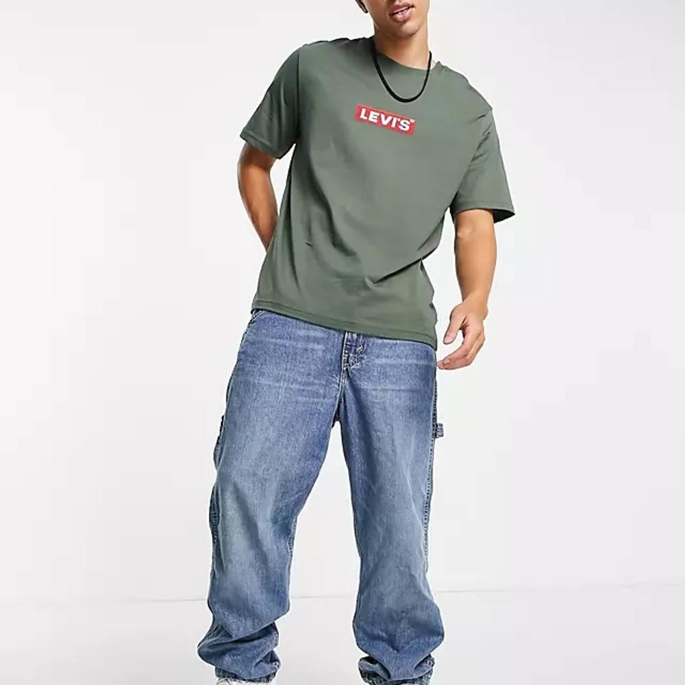 Levi's Relaxed Fit Boxtab Logo T-Shirt Dark Green Full