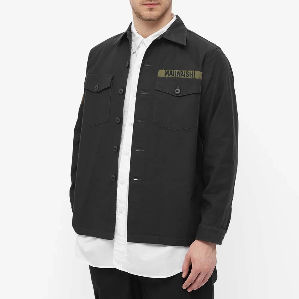 Maharishi Embroidered Dragon Shirt Black Front