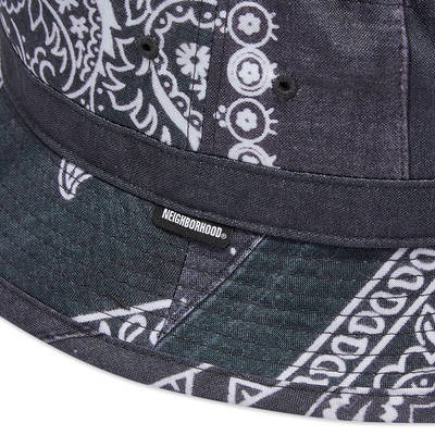Neighborhood Bandana Chopped Bucket Hat Black Detail